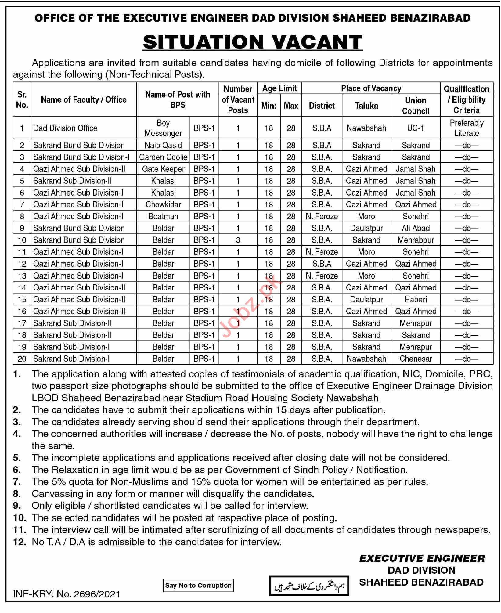 DAD Division Shaheed Benazirabad Jobs 2021 for Naib Qasid