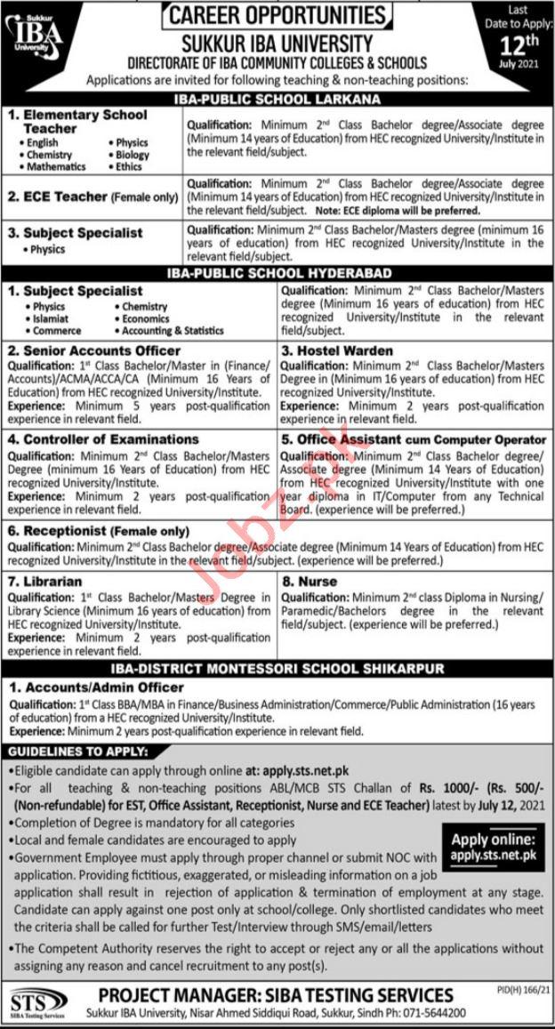 Sukkur IBA University Jobs 2021 Teacher & Accounts Officers