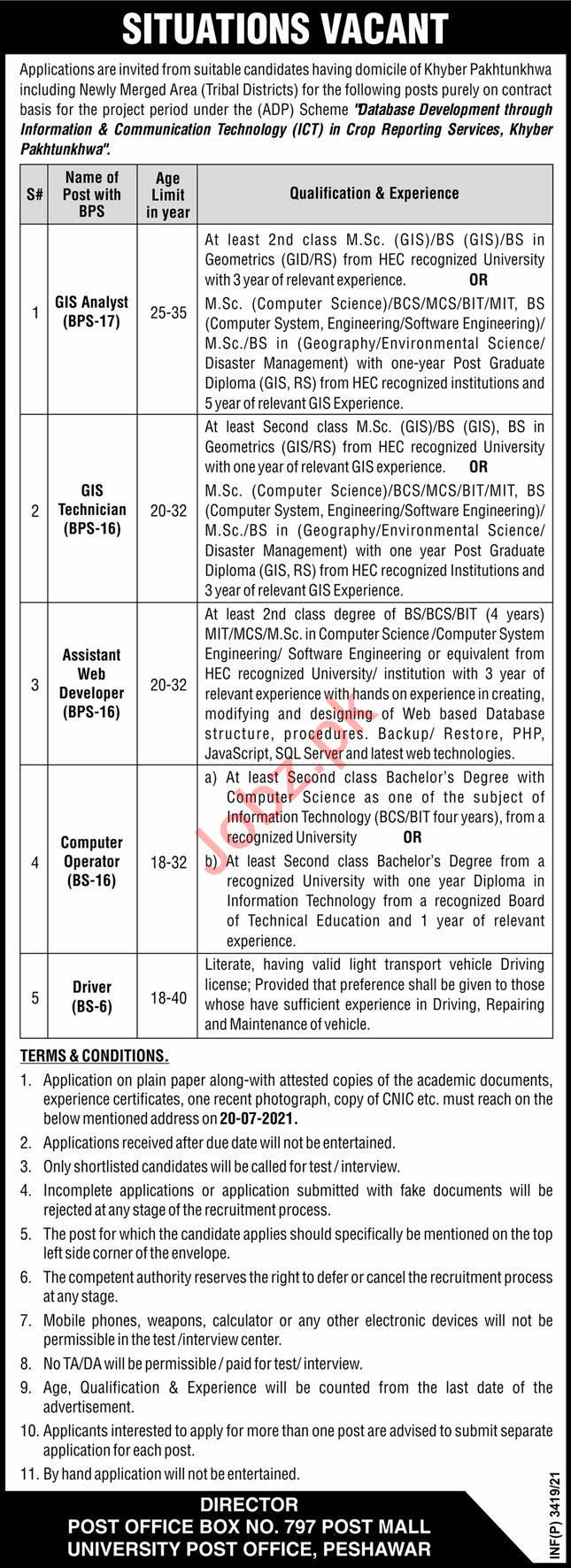 Agriculture Department ICT Peshawar Jobs 2021 GIS Analyst