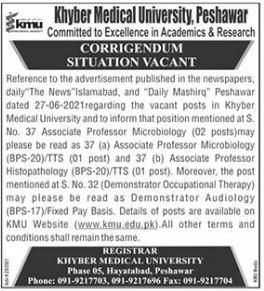 Khyber Medical University 27th June Jobs Corrigendum 2021