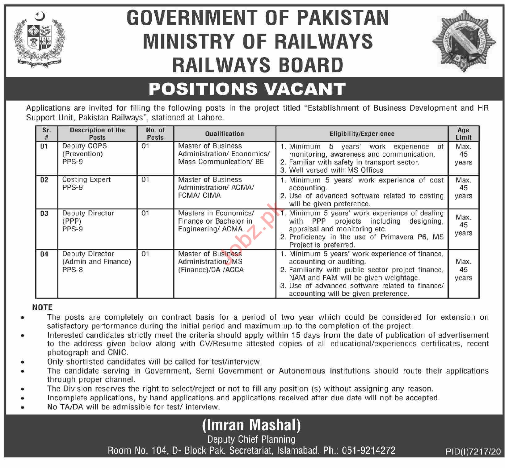 Railways Board Ministry of Railways Islamabad Jobs 2021