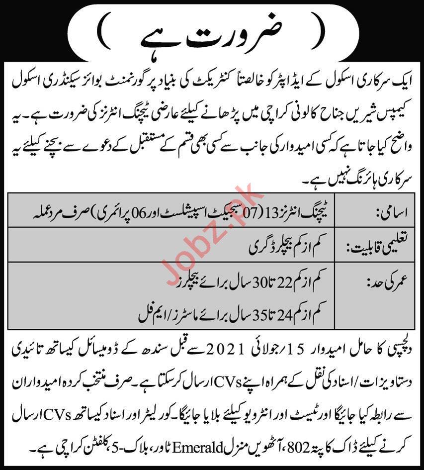 Govt Boys Secondary School Shireen Jinnah Colony Jobs 2021