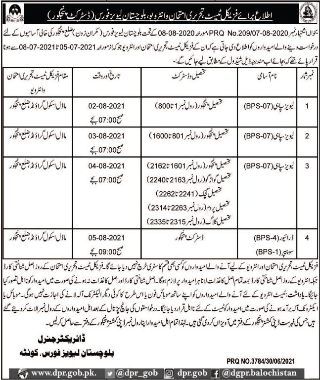 Balochistan Levies Force Soldier Driver & Sweeper Jobs 2021