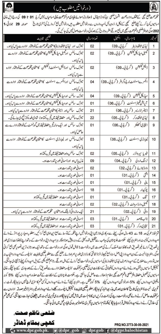 Health Department Kachhi Medical Staff jobs 2021
