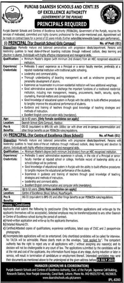 Punjab Daanish Schools Principal Jobs 2021