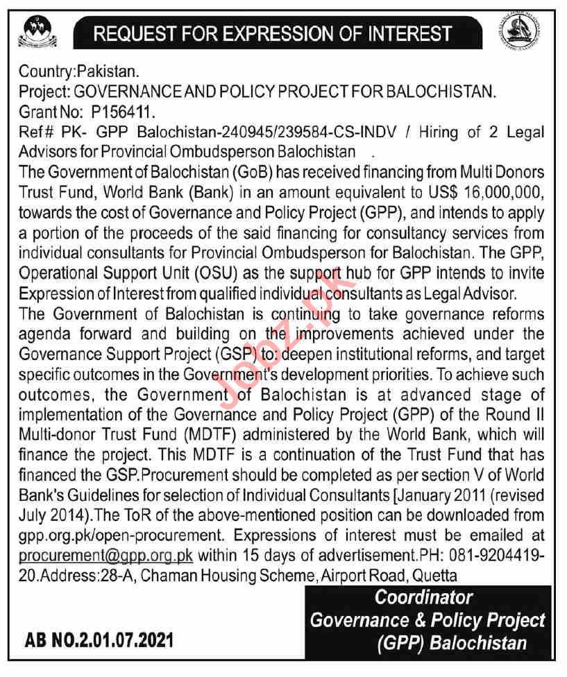 Provincial Ombudsman Mohtasib Secretariat Balochistan Jobs
