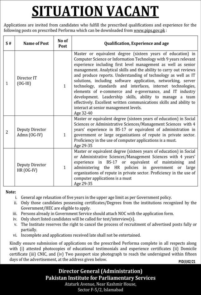 Pakistan Institute for Parliamentary Services PIPS Jobs 2021