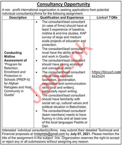 Conduction Midline Assessment Consultant NGO Jobs 2021