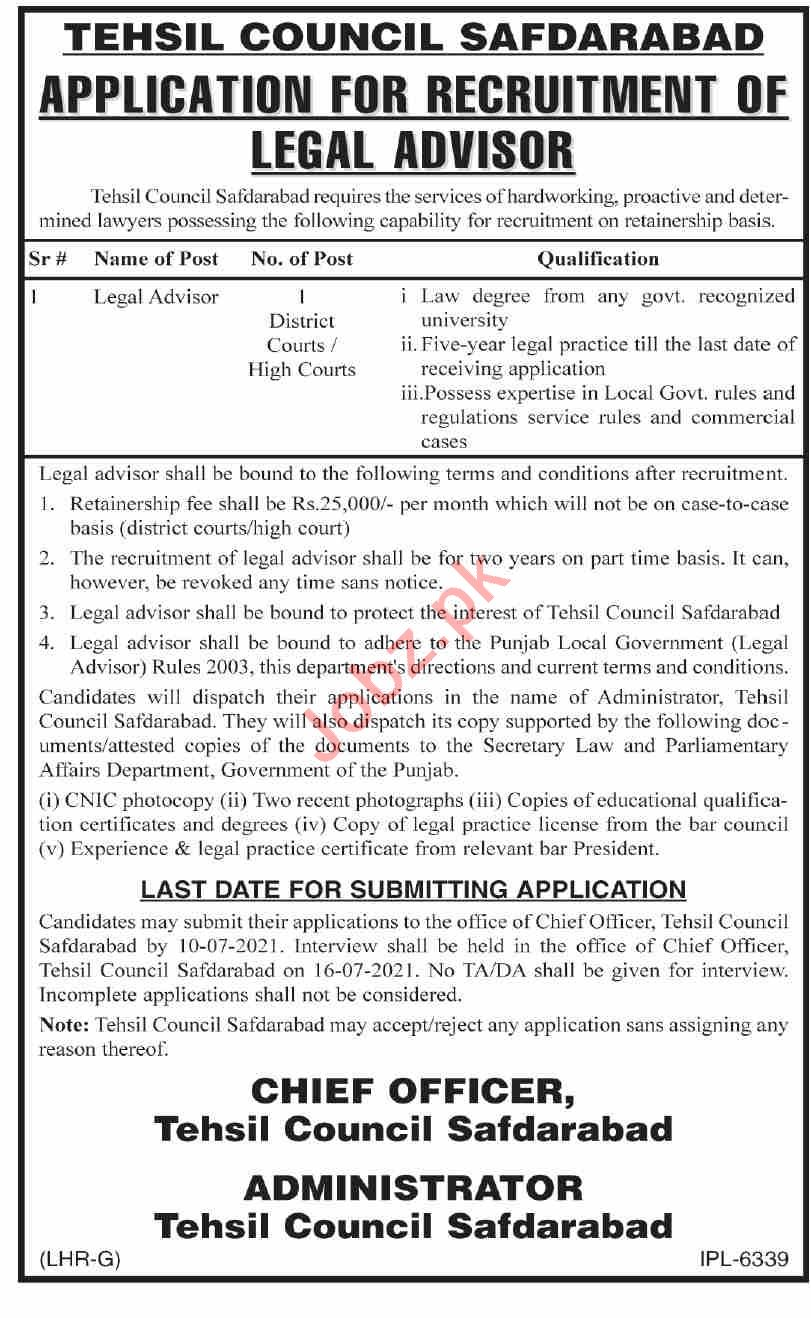 Tehsil Council TMA Safdarabad Jobs 2021 for Legal Advisor