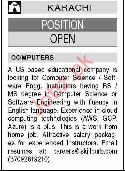 Computer Science Instructor & Instructor Jobs 2021 Karachi