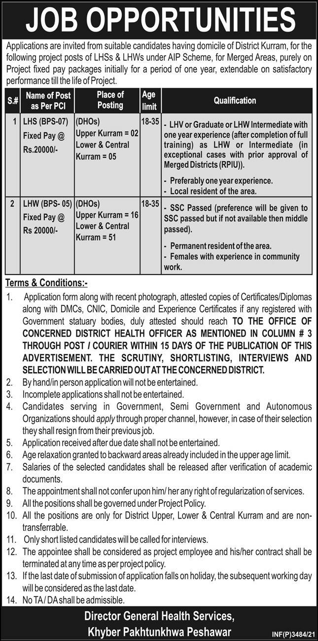 LHS & LHWs Jobs in Director General Health Services KpK