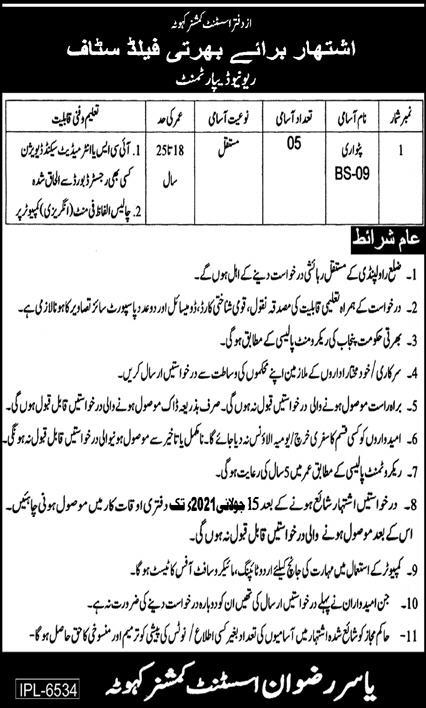 Patwari Jobs in Revenue Department