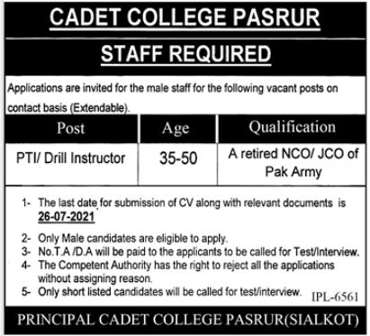 PTI Drill Instructor Jobs in Cadet College Pasrur