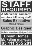 Marketing Company Sales Executive & Graphics Designer Jobs