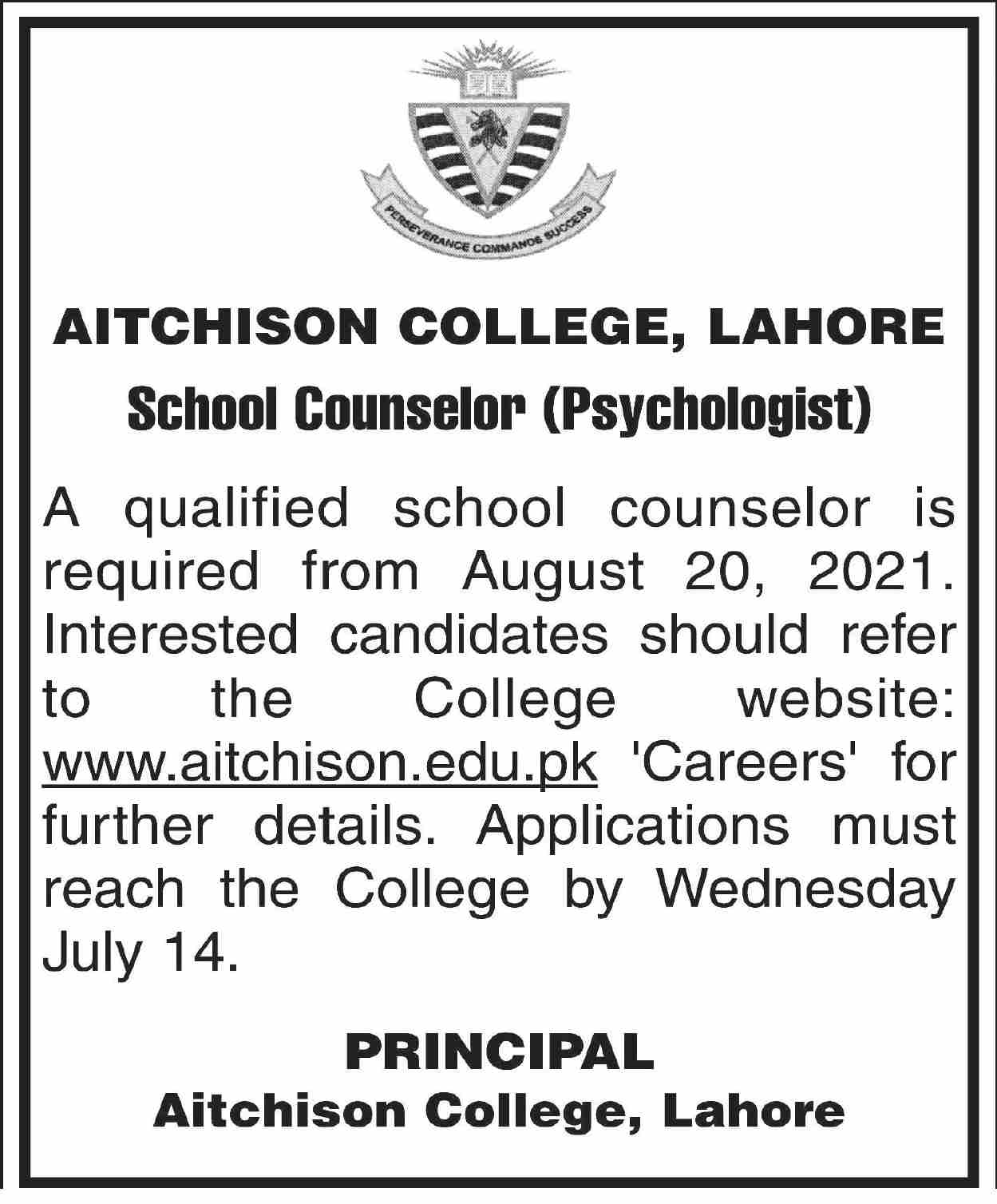 School Counselor Psychologist Jobs in Aitchison College