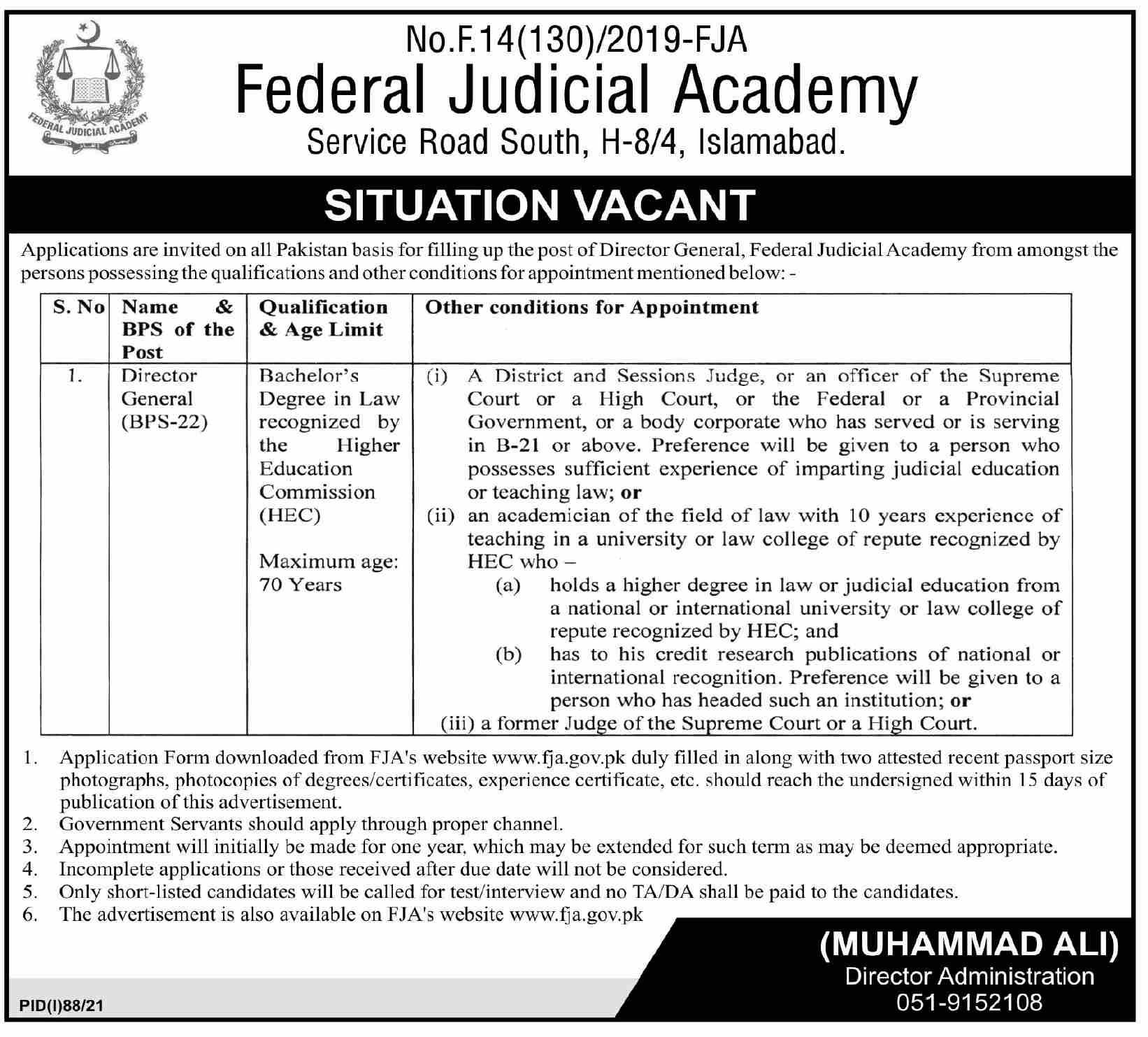 Director General Jobs in Federal Judicial Academy