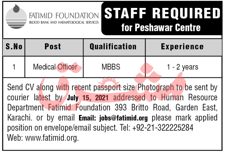 Fatimid Foundation Jobs 2021 in Peshawar