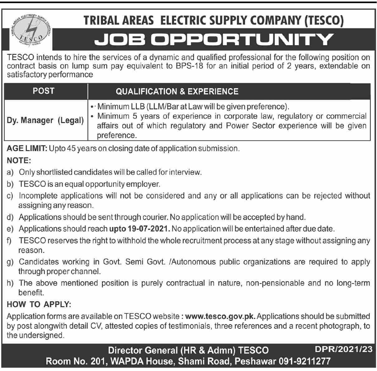 Dy Manager Legal Jobs in TESCO