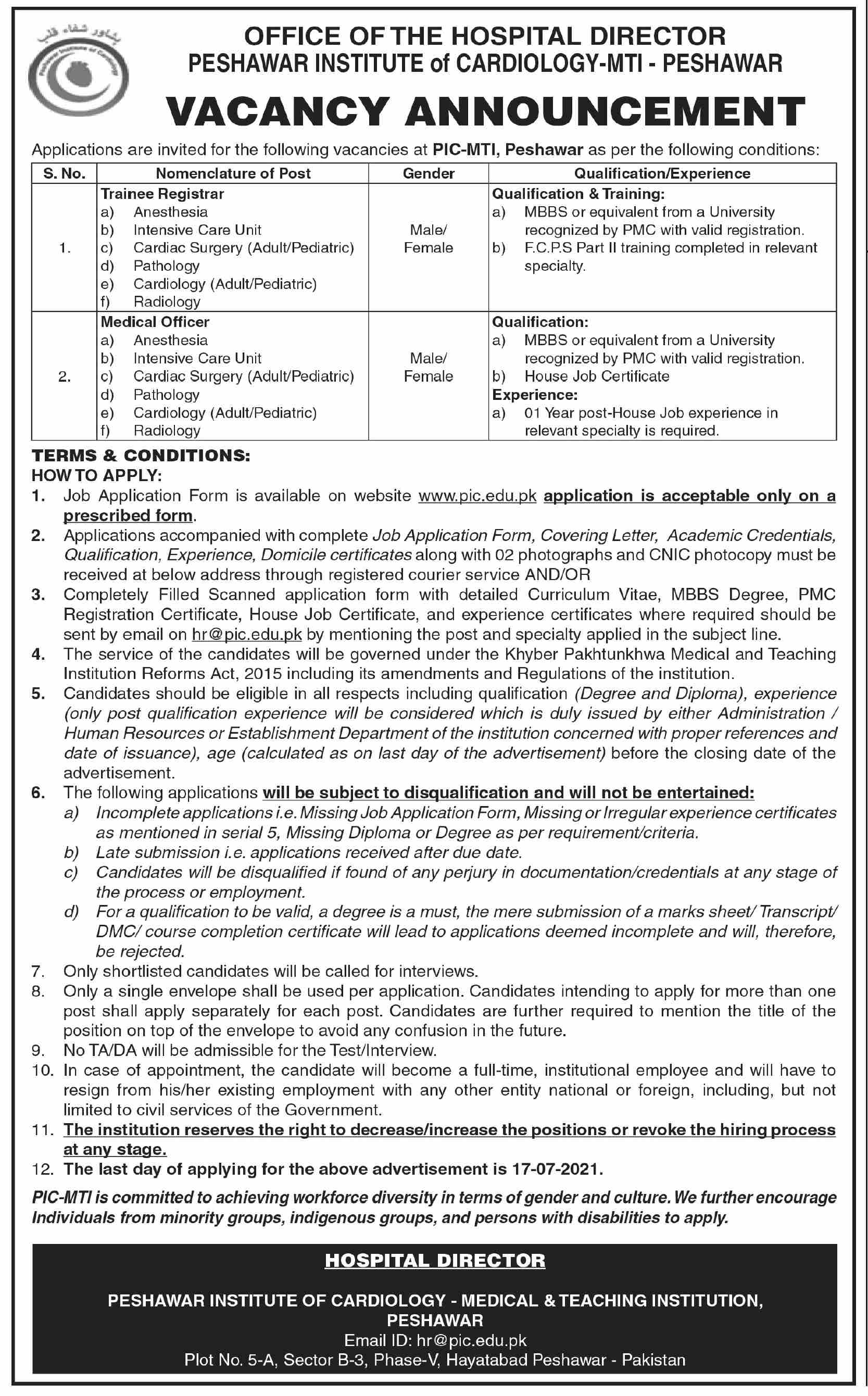 Peshawar Institute of cardiology PIC Medical Jobs 2021