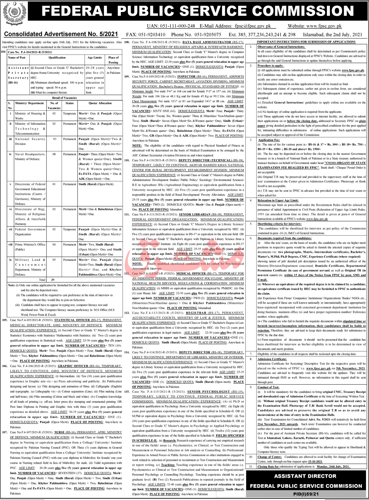 Federal Public Service Commission FPSC July Jobs 2021