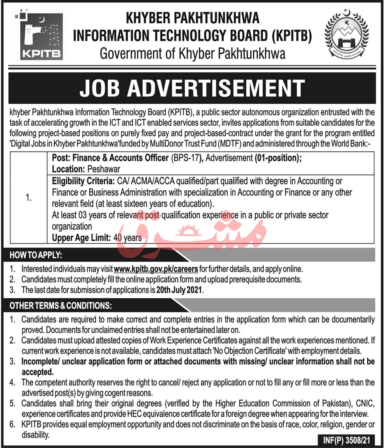 KP Information Technology Board KPITB Jobs 2021
