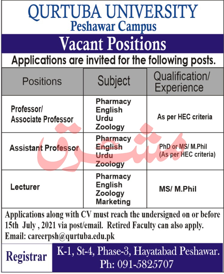 Qurtuba University Peshawar Campus Jobs 2021