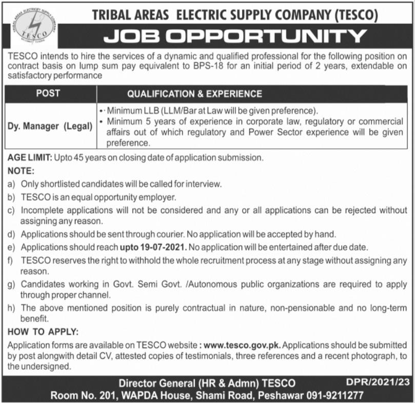 Tribal Areas Electric Supply Company TESCO Job 2021