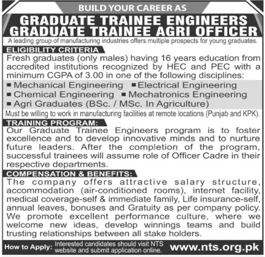 Manufacturing Industries Jobs 2021 For Trainees via NTS