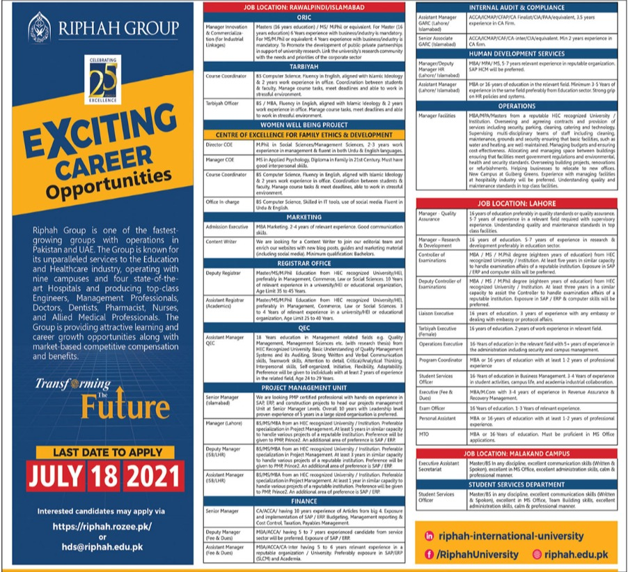 Riphah Group Jobs 2021 in Rawalpindi and Islamabad
