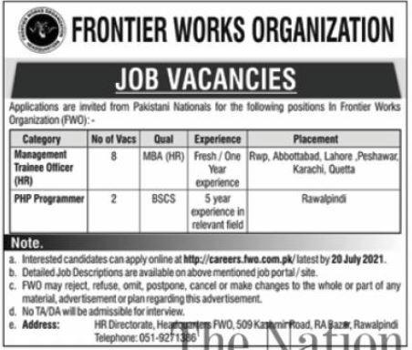 Frontier Works Organization FWO Management Jobs 2021