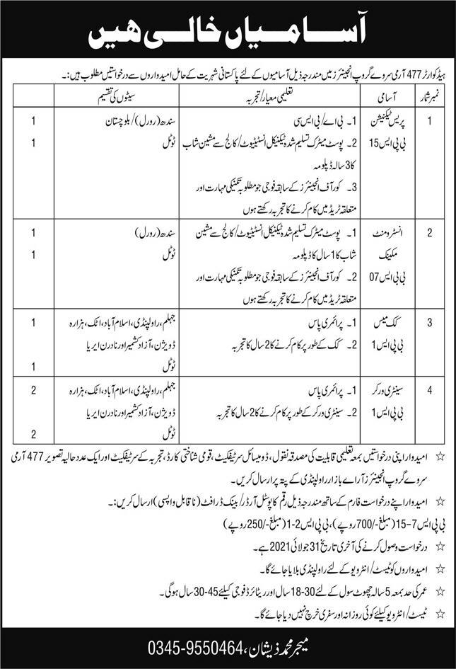 Headquarter 477 Army Survey Group Engineers Jobs 2021