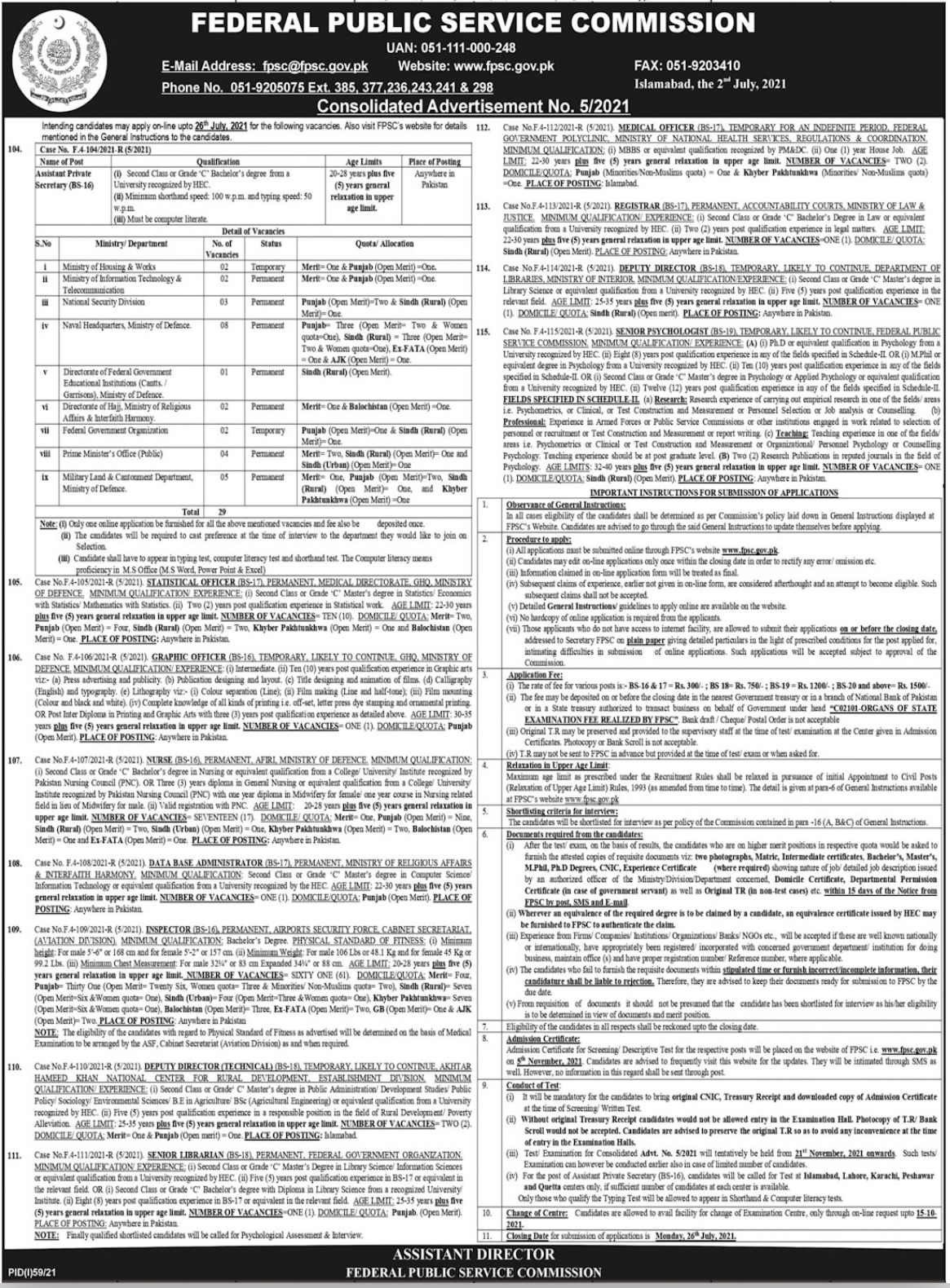 Federal Public Service Commission FPSC 4th July Jobs 2021