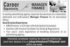Advertising Agency Jobs 2021 in Islamabad