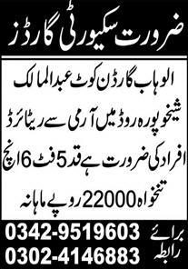Security Guards Jobs 2021 In Hafizabad