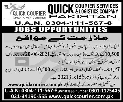 Quick Courier Services & Logistics Company Jobs 2021