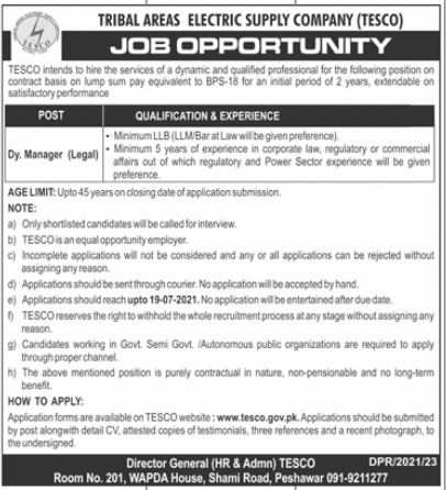 Tribal Electric Supply Company Dy Manager Legal Jobs 2021