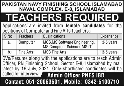 Pakistan Navy Finishing School Jobs 2021 For Teaching Staff