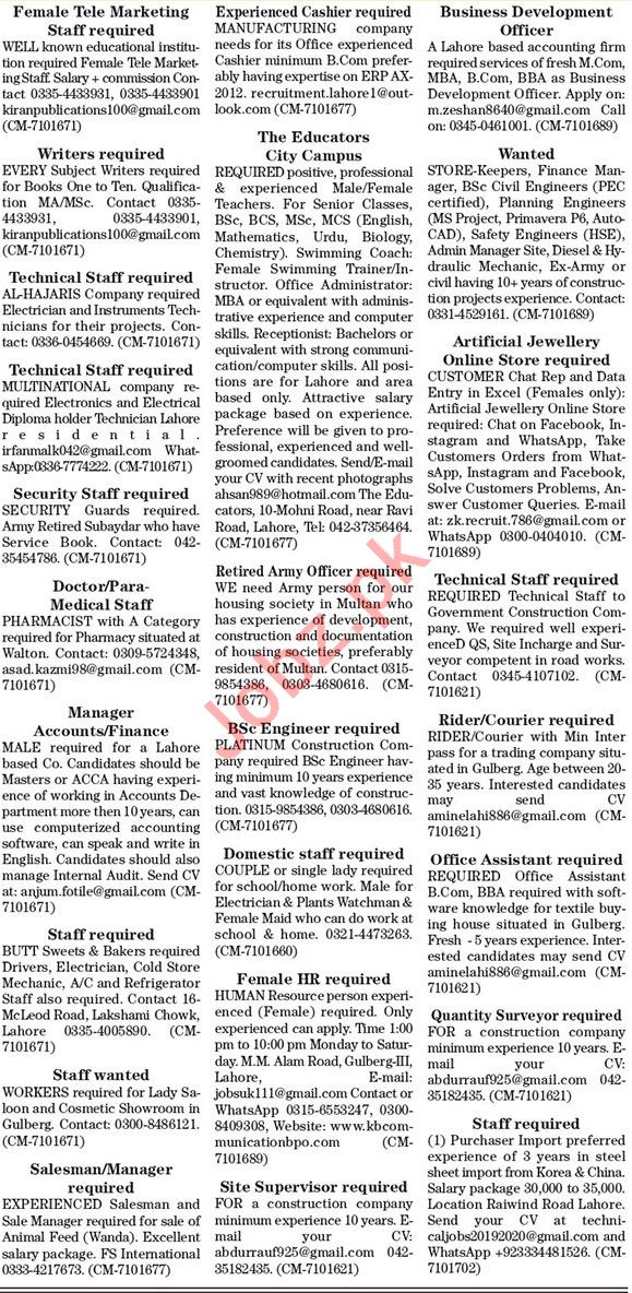 The News Sunday Classified Ads 4 July 2021 for General Staff