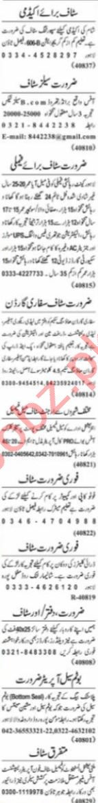 Nawaiwaqt Sunday Classified Ads 4 July 2021 for Management