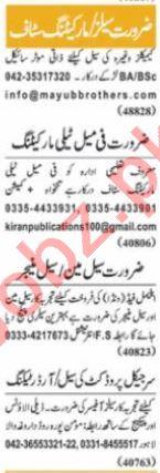 Nawaiwaqt Sunday Classified Ads 4 July 2021 for Sales Staff