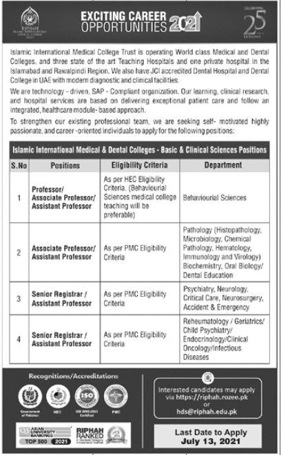 Islamic International Medical College Faculty Jobs 2021