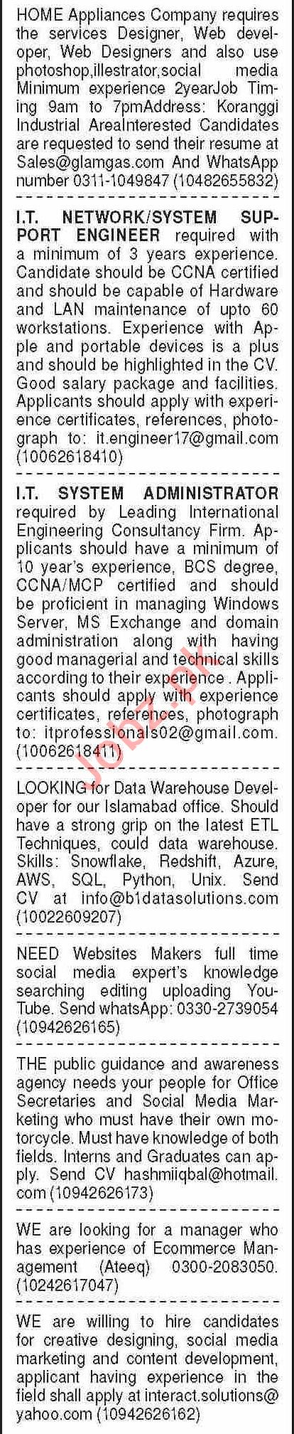 Dawn Sunday Classified Ads 4 July 2021 for Computer Staff