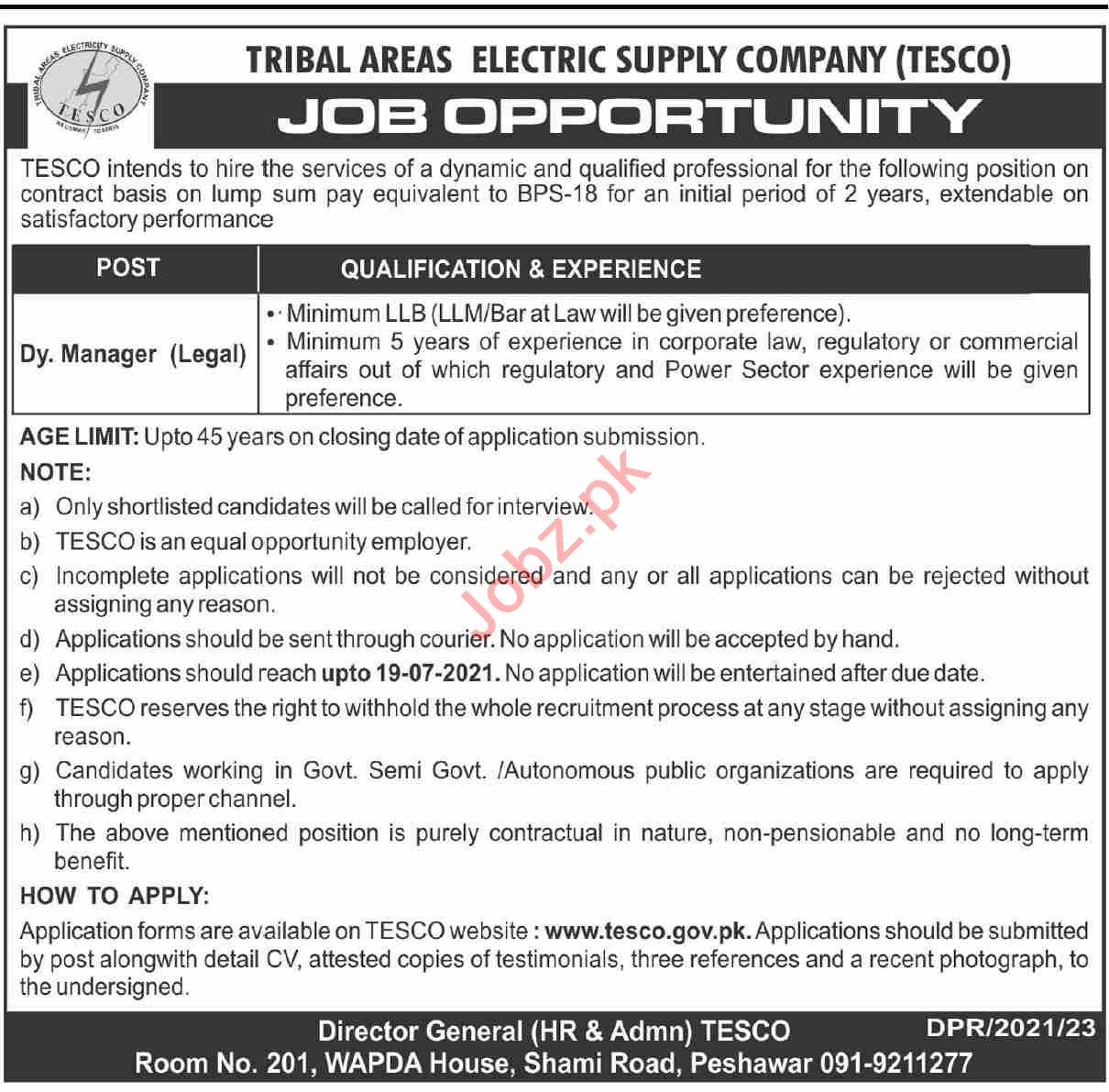 Tribal Areas Electricity Supply Company TESCO Jobs 2021