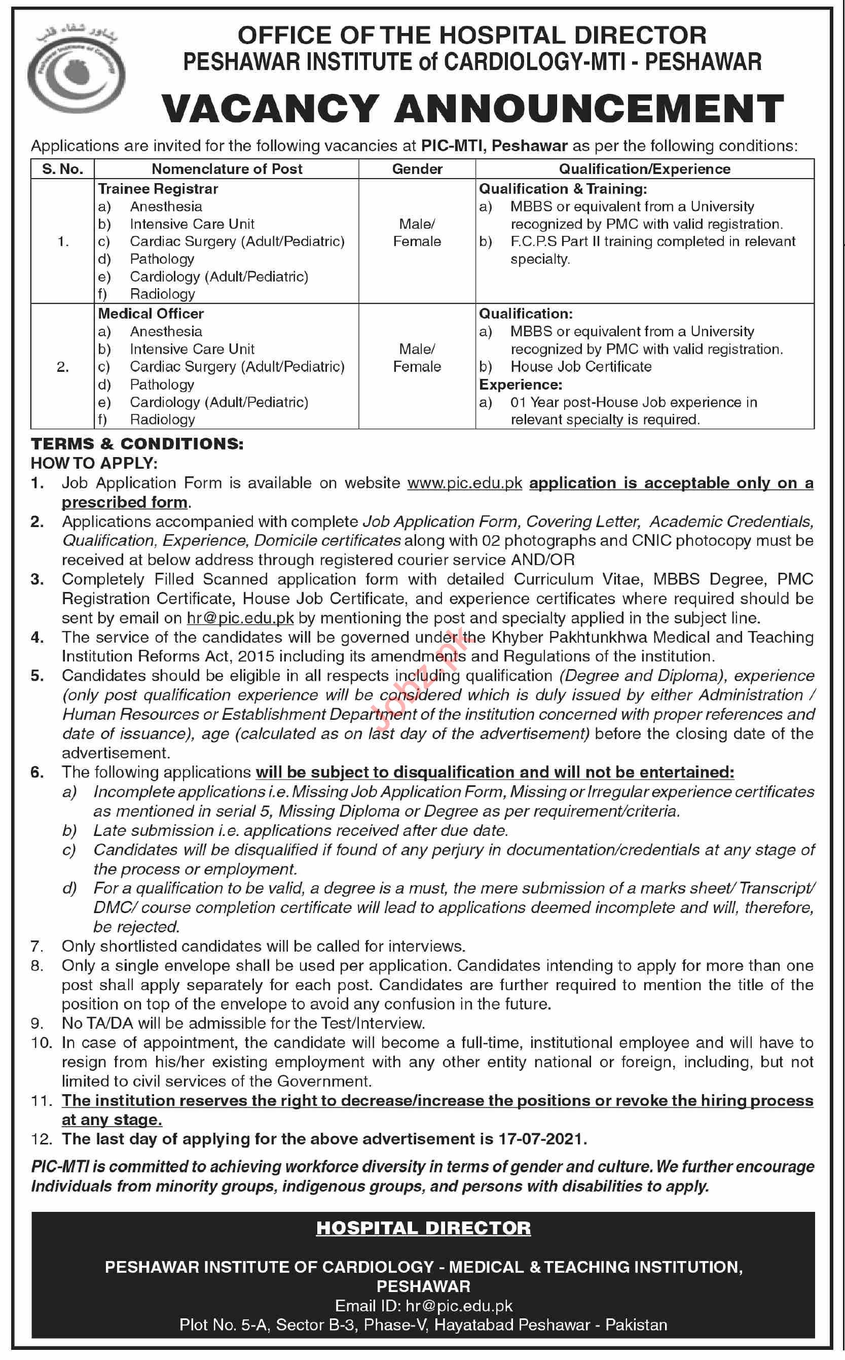 Peshawar Institute of Cardiology PIC MTI Jobs 2021 Registrar