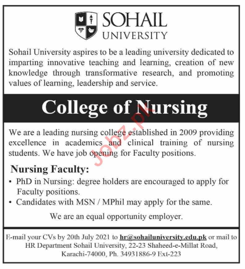 College of Nursing Sohail University Karachi Jobs 2021