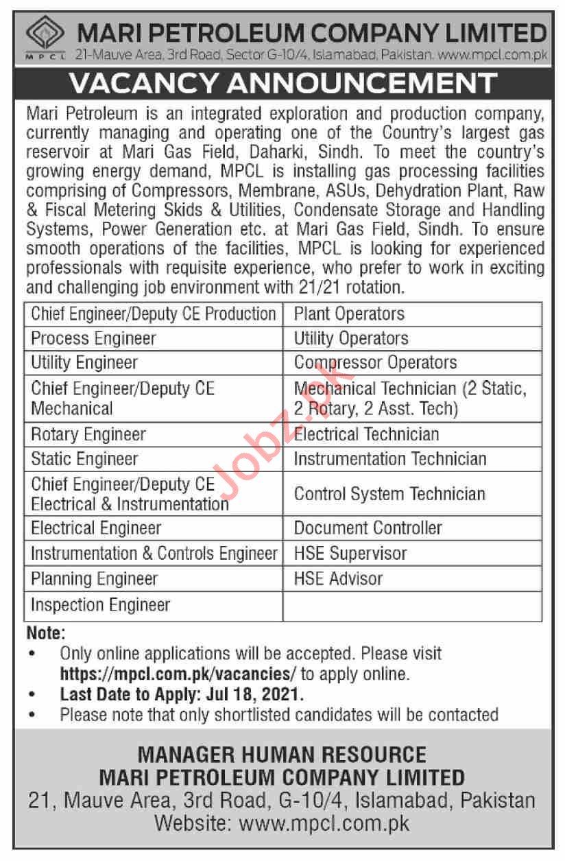 Mari Petroleum Company Limited MPCL Islamabad Jobs 2021