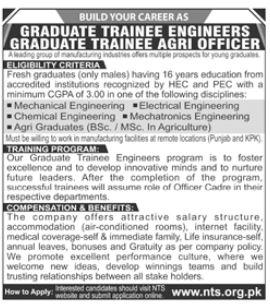 Graduate Trainee Engineer Jobs in Private Company via NTS