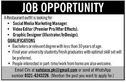 Social Media Marketing Manager Video Editor Jobs in Lahore