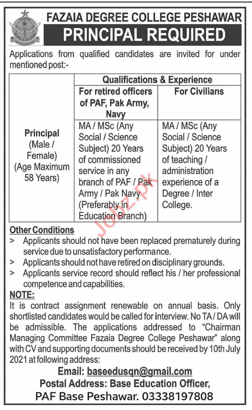 Fazaia Degree College Peshawar Jobs 2021 for Principal