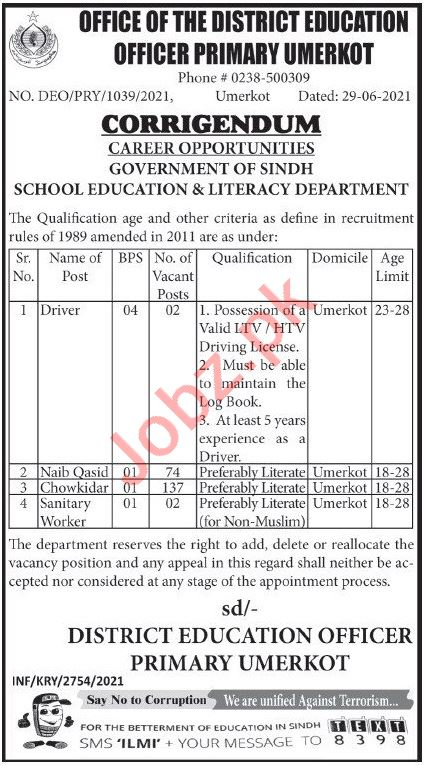 District Education Officer DEO Primary Umerkot Jobs 2021